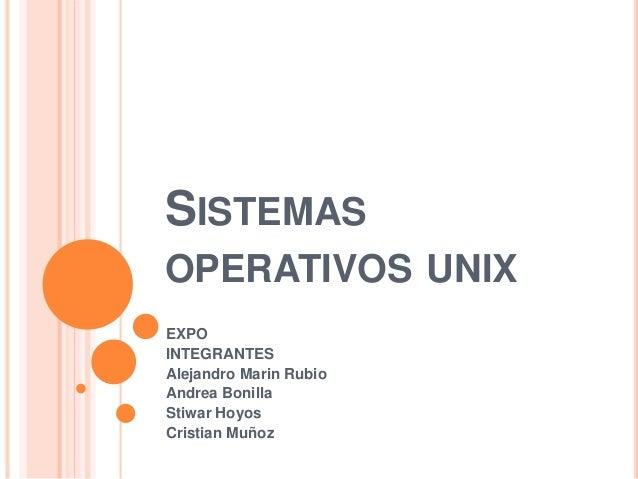SISTEMAS OPERATIVOS UNIX EXPO INTEGRANTES Alejandro Marin Rubio Andrea Bonilla Stiwar Hoyos Cristian Muñoz
