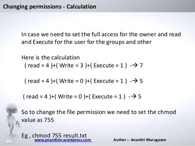 Write access chmod syntax
