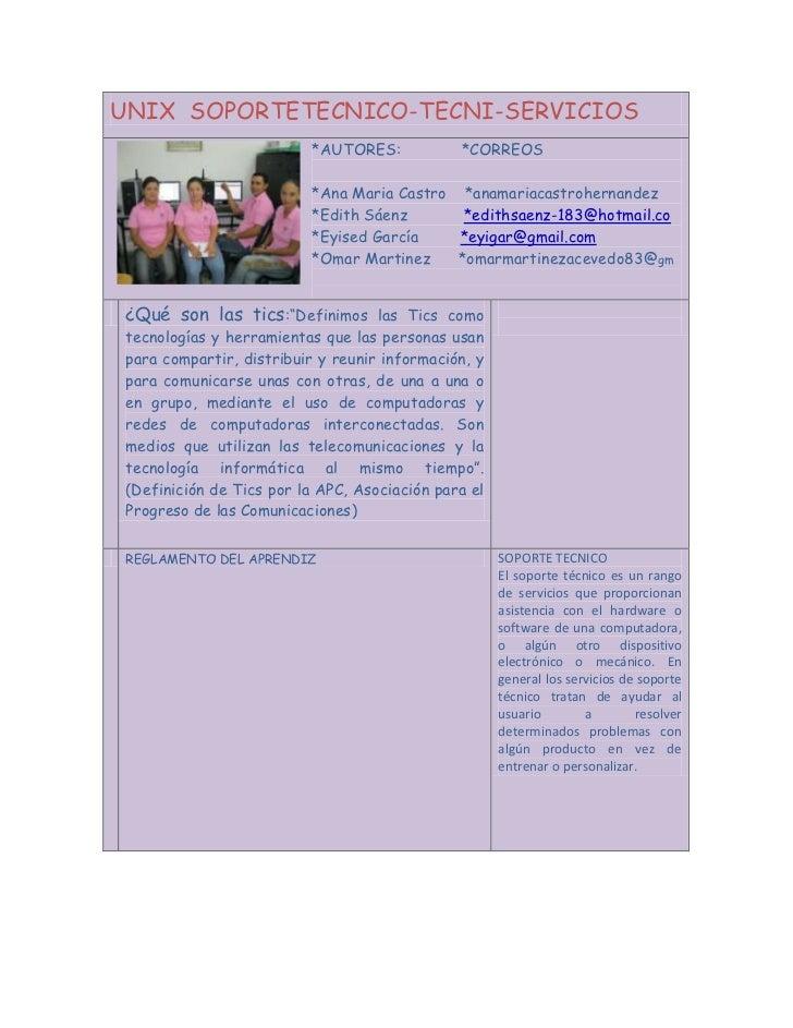 UNIX SOPORTETECNICO-TECNI-SERVICIOS                          *AUTORES:            *CORREOS                          *Ana M...