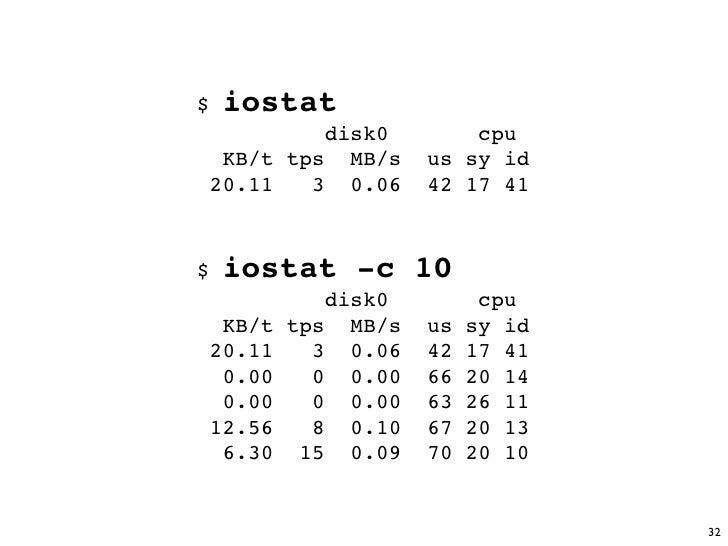 $   iostat           disk0         cpu   KB/t tps MB/s     us sy id  20.11   3 0.06     42 17 41    $   iostat -c 10      ...