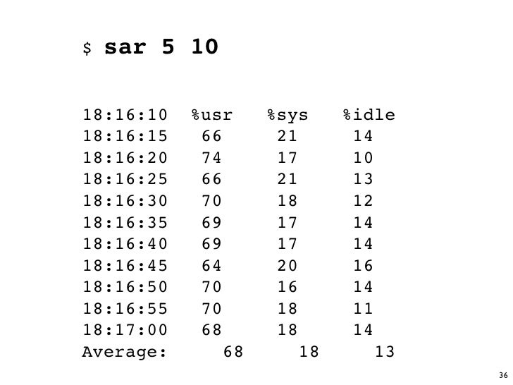 $   sar 5 10  18:16:10   %usr     %sys     %idle 18:16:15    66       21       14 18:16:20    74       17       10 18:16:2...