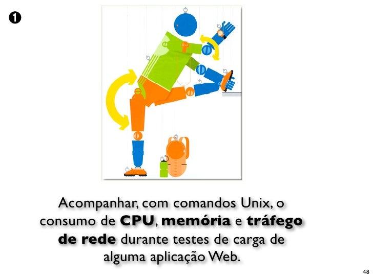 ➊           Acompanhar, com comandos Unix, o     consumo de CPU, memória e tráfego       de rede durante testes de carga d...