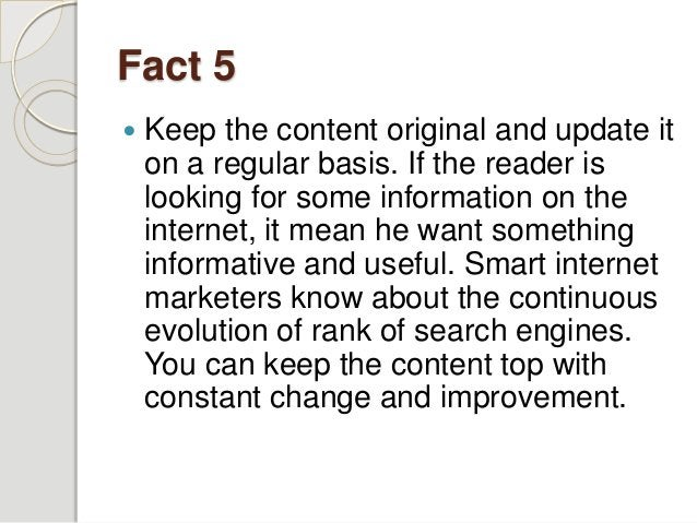 Fact 6  Don't forget to include keywords in the title, sub headings, and Meta description that usually don't appear in th...
