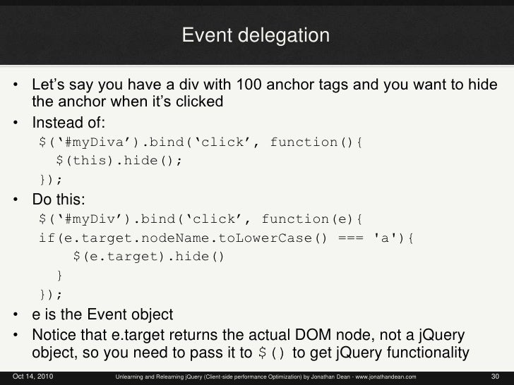Unlearning and Relearning jQuery - Client-side Performance