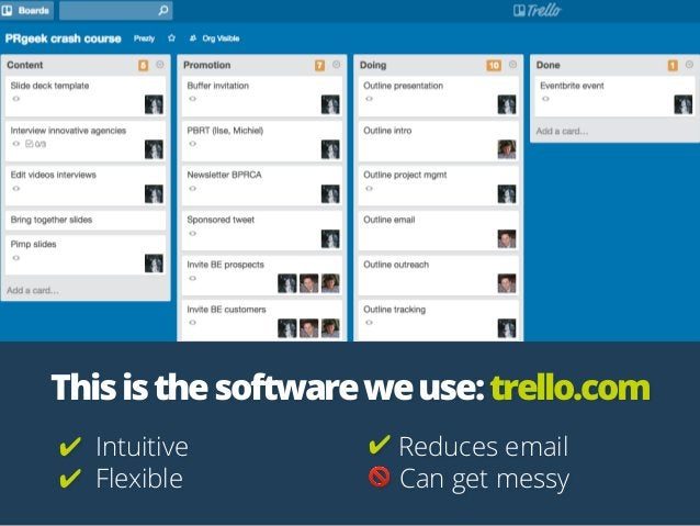Thisisthesoftwareweuse:trello.com ✔ Intuitive ✔ Flexible ✔ Reduces email 🚫 Can get messy