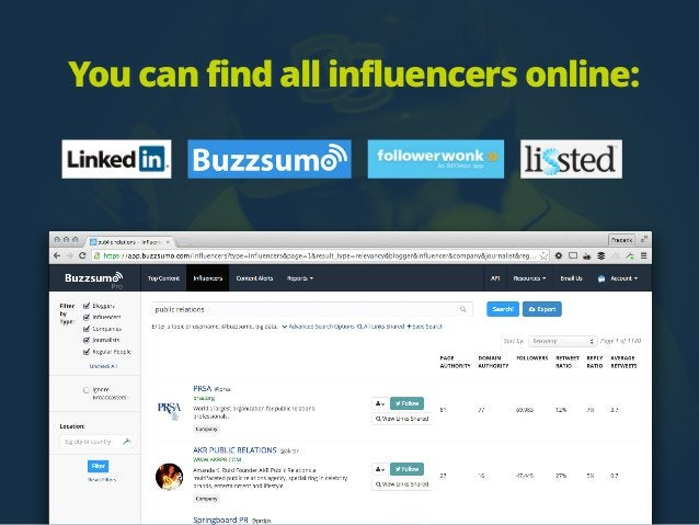 You can find all influencers online: