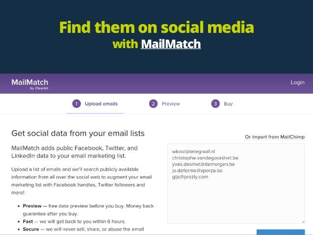 Find them on social media with MailMatch
