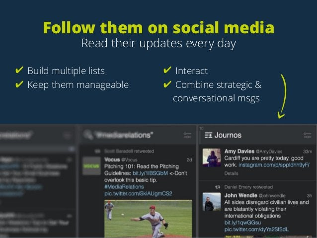Follow them on social media Read their updates every day ✔ Build multiple lists ✔ Keep them manageable ✔ Interact ✔ Combin...