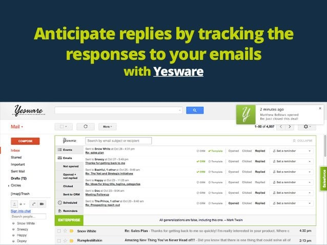 Anticipate replies by tracking the responses to your emails with Yesware