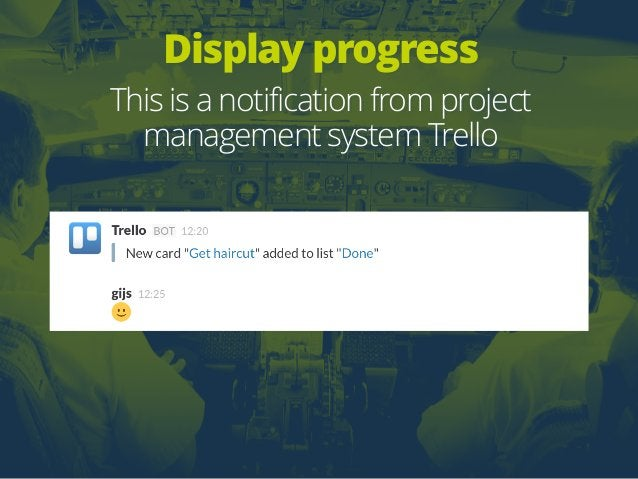 Display progress This is a notification from project management system Trello