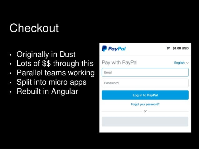 Checkout • Originally in Dust • Lots of $$ through this • Parallel teams working • Split into micro apps • Rebuilt in Angu...