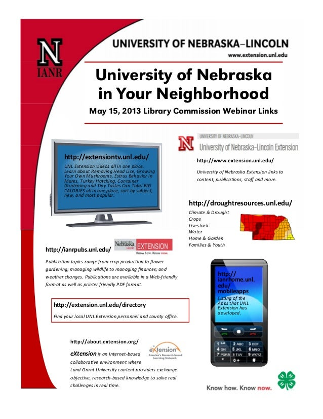 University of Nebraskain Your NeighborhoodMay 15, 2013 Library Commission Webinar Linksh p://about.extension.org/ eXtensio...