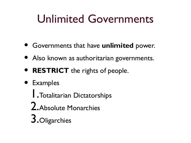Unlimited And Limited Governments Presentation