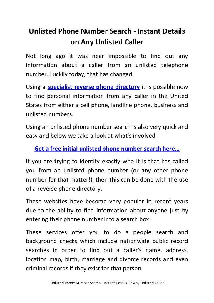free listings of unlisted phone numbers