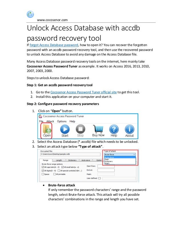 Unlock access database with accdb password recovery tool