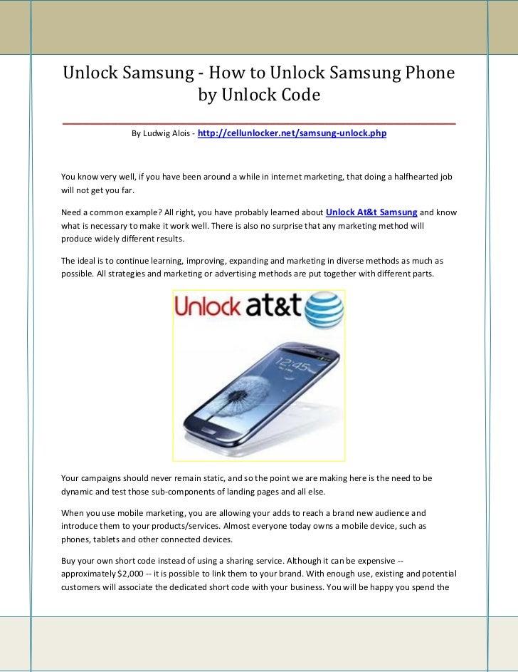 Unlock Samsung - How to Unlock Samsung Phone                    by Unlock Code____________________________________________...