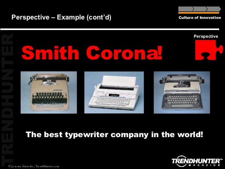 Perspective – Example (cont'd) Smith Corona! Culture of Innovation Perspective The best typewriter company in the world!