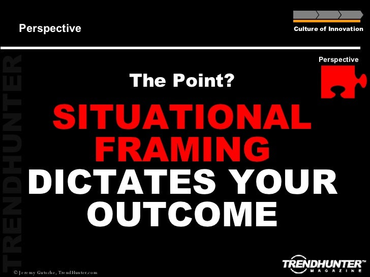 Perspective The Point? SITUATIONAL FRAMING  DICTATES YOUR OUTCOME Culture of Innovation Perspective