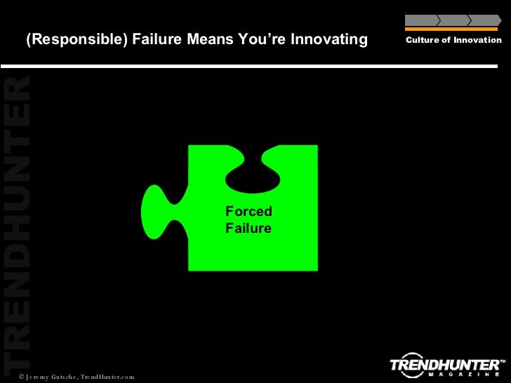 (Responsible) Failure Means You're Innovating Culture of Innovation Forced Failure