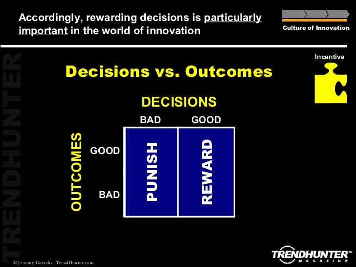 Accordingly, rewarding decisions is  particularly important  in the world of innovation Decisions vs. Outcomes Culture of ...