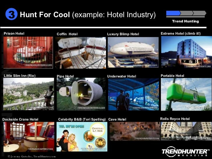 Hunt For Cool  (example: Hotel Industry) Trend Hunting 3 Dockside Crane Hotel Celebrity B&B (Tori Spelling) Portable Hotel...