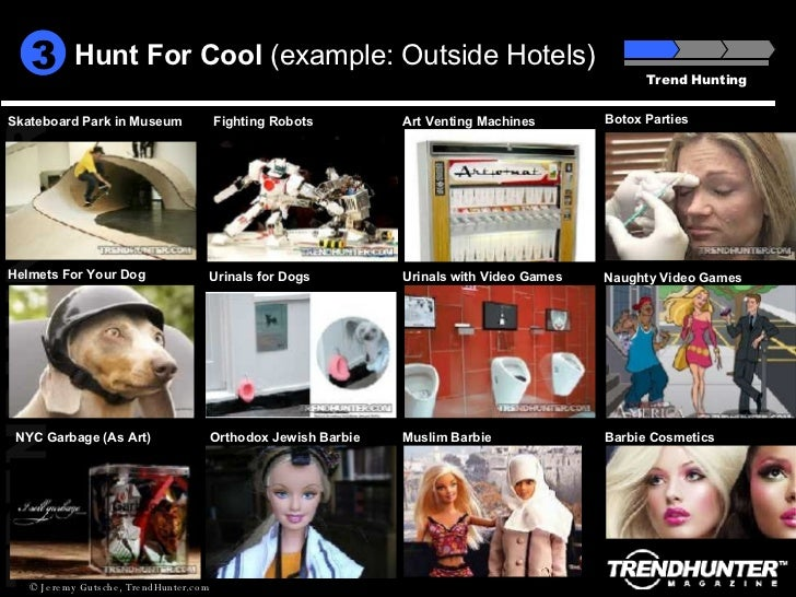 Hunt For Cool  (example: Outside Hotels) Trend Hunting 3 Art Venting Machines Fighting Robots Naughty Video Games Helmets ...