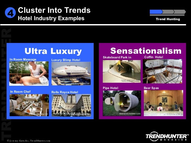 Trend Hunting 4 Cluster Into Trends Hotel Industry Examples In Room Chef In Room Massage Rolls Royce Hotel Luxury Blimp Ho...