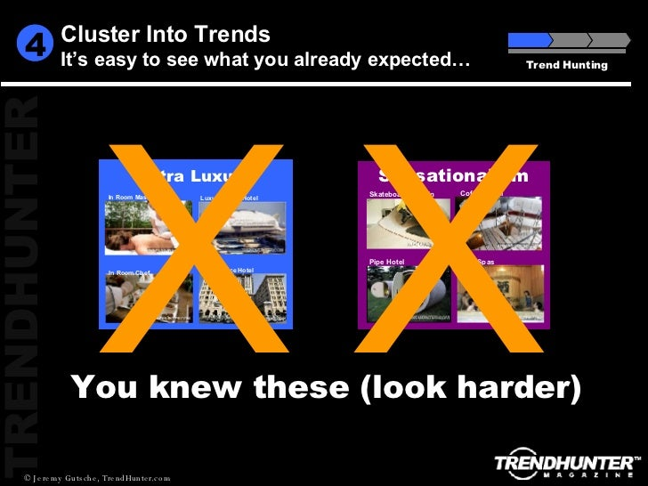 Cluster Into Trends It's easy to see what you already expected… Trend Hunting 4 You knew these (look harder) X X In Room C...