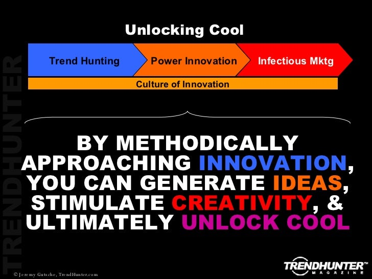 Culture of Innovation Unlocking Cool BY METHODICALLY APPROACHING  INNOVATION , YOU CAN GENERATE  IDEAS , STIMULATE  CREATI...