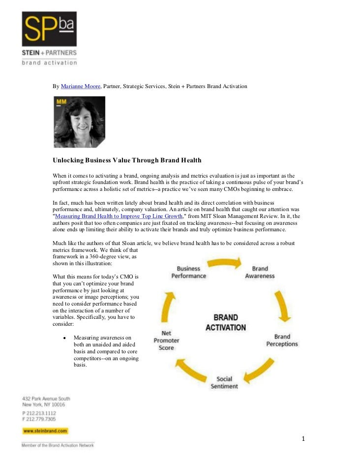 By Marianne Moore, Partner, Strategic Services, Stein + Partners Brand ActivationUnlocking Business Value Through Brand He...