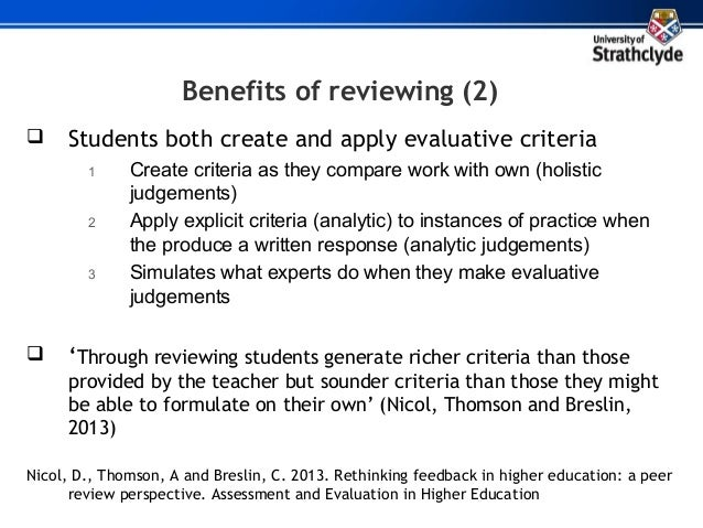 Benefits of peer review for students