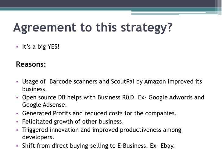 case study amazon ebay and google unlocking and sharing business databases 5 august 2012 case study: answers q 1 answer there is a whole range of  benefits to amazon and ebay of opening up some of their databases to  developers.