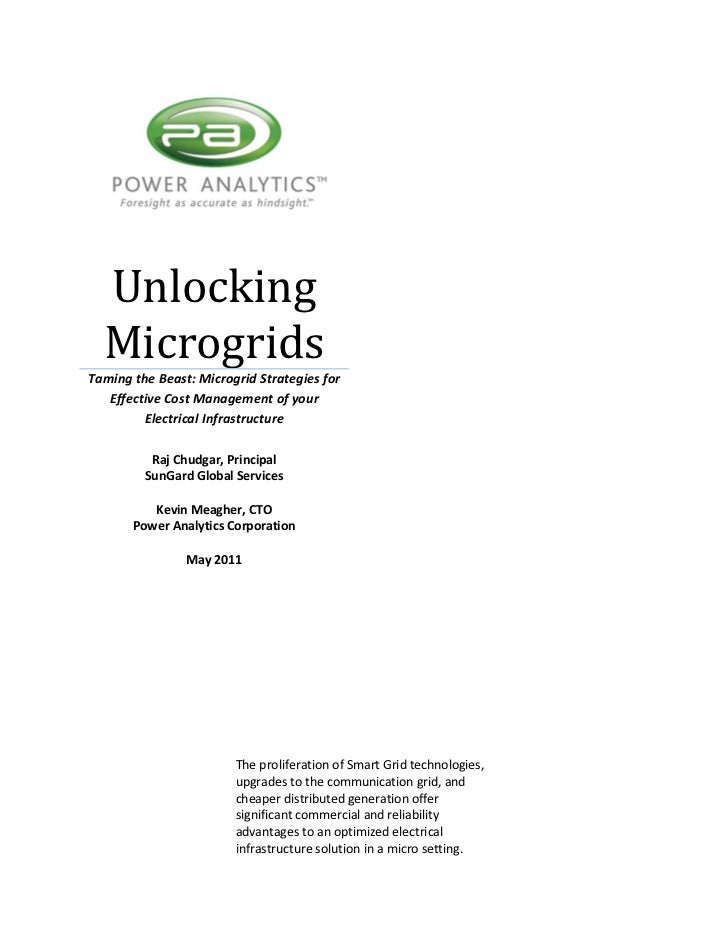 Unlocking  MicrogridsTaming the Beast: Microgrid Strategies for   Effective Cost Management of your         Electrical Inf...