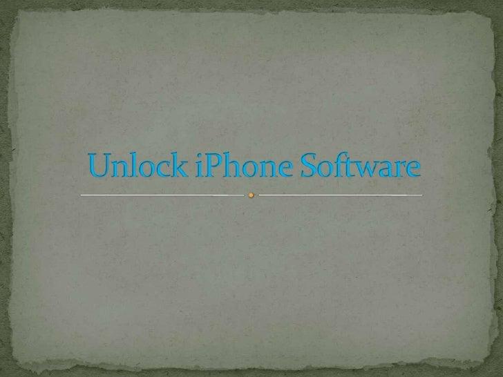 Unlock iPhone Software<br />