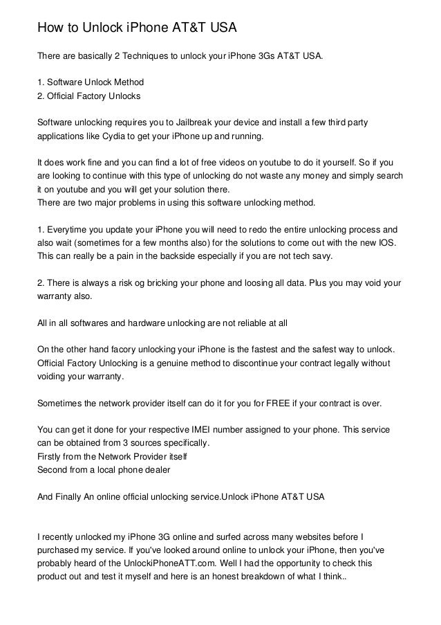How to Unlock iPhone AT&T USA