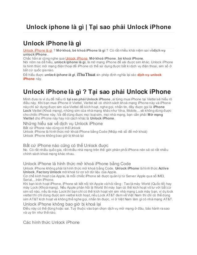 Unlock iphone là gì | Tại sao phải Unlock iPhone Unlock iPhone là gì Unlock iPhone là gì ? Mở khoá, bẻ khoá iPhone là gì ?...