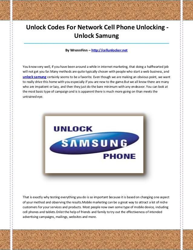 Unlock Codes For Network Cell Phone Unlocking -                 Unlock Samung_____________________________________________...