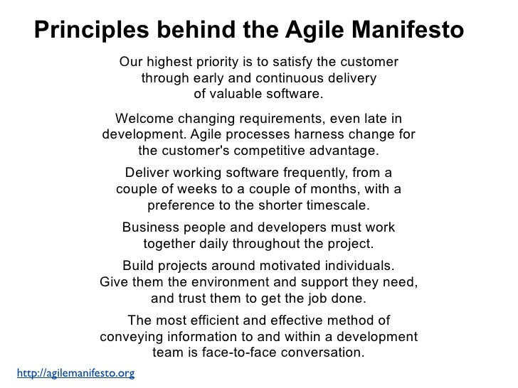 Principles behind the Agile ManifestoWorking software is the primary measure of progress. Agile processes promote sustaina...