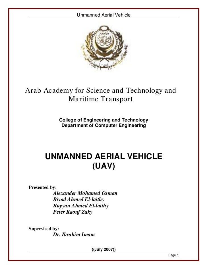 Unmanned Aerial VehicleArab Academy for Science and Technology and           Maritime Transport                  College o...