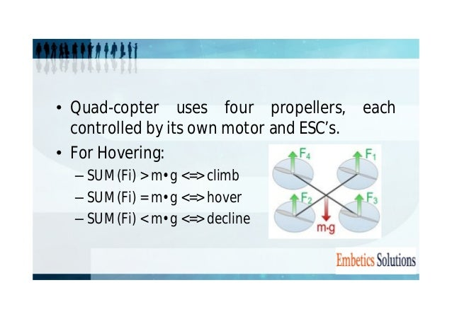 • Quad-copter uses four propellers, each  controlled by its own motor and ESC's.  • For Hovering:  – SUM(Fi) > m•g <=> cli...