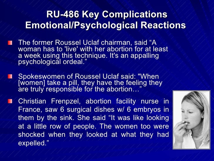 the clinical trial of ru 486 the legal abortion pill She went to an abortionist and took ru-486, the abortion pill mentioned that no previously published trials or case studies would a proposed law 'ban the.