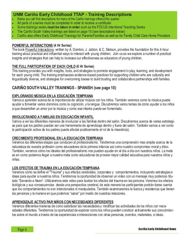 Cariño Early Childhood at UNM 3rd Quarter 2015-2016 Newsletter