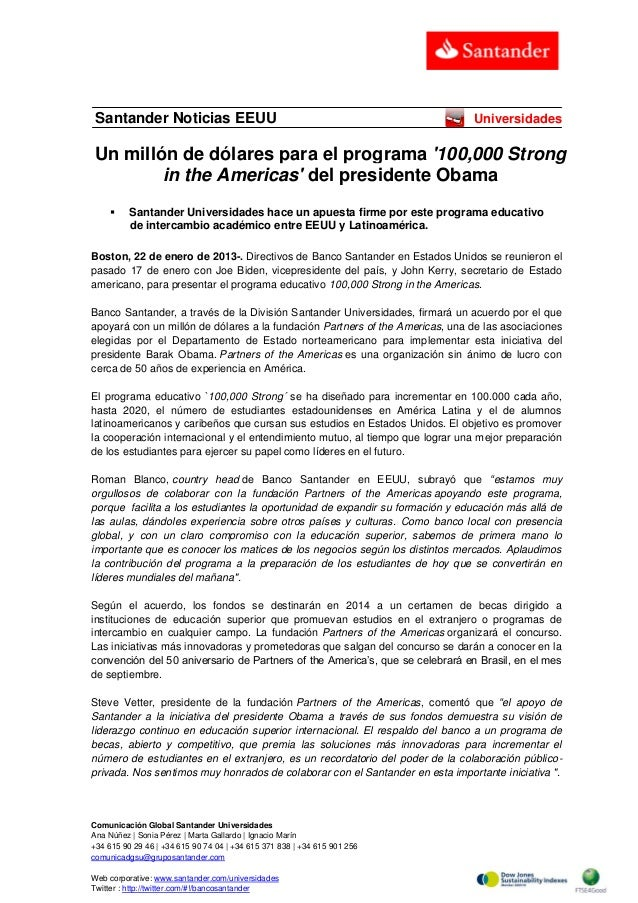 Santander Noticias EEUU  Universidades  Un millón de dólares para el programa '100,000 Strong in the Americas' del preside...