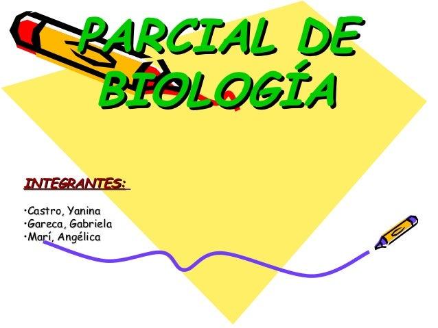 PARCIAL DE           BIOLOGÍAINTEGRANTES:•Castro, Yanina•Gareca, Gabriela•Marí, Angélica