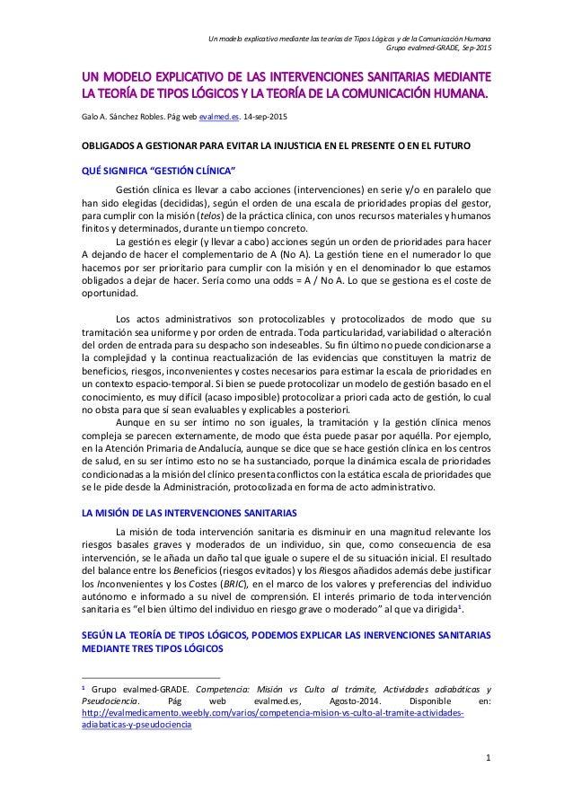 Un modelo explicativo mediante las teorías de Tipos Lógicos y de la Comunicación Humana Grupo evalmed-GRADE, Sep-2015 1 UN...