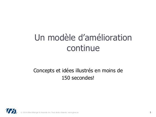 Un modèle d'amélioration continue Concepts et idées illustrés en moins de 150 secondes! © 2014 Gilles Bélanger & Associés ...
