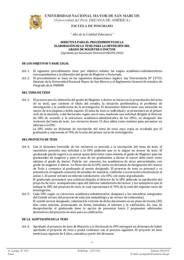 Unmsm directiva obtencion grados academicos