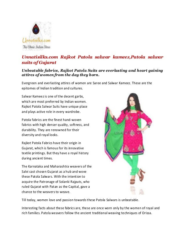 Unnatisilks.com Rajkot Patola salwar kameez,Patola salwar suits of Gujarat Unbeatable fabrics, Rajkot Patola Suits are eve...