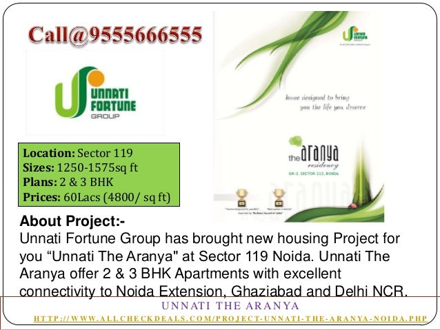 Location: Sector 119 Sizes: 1250-1575sq ft Plans: 2 & 3 BHK Prices: 60Lacs (4800/ sq ft)  About Project:Unnati Fortune Gro...