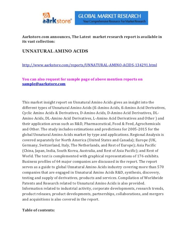 Aarkstore.com announces, The Latest market research report is available inits vast collection:UNNATURAL AMINO ACIDShttp://...